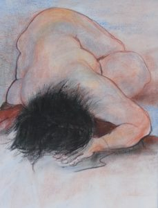 Alone, crayon on paper, 75 x 58cm (incl frame)