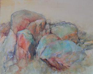 Bald rock, acrylic and crayon on canvas, 60 x 76cm