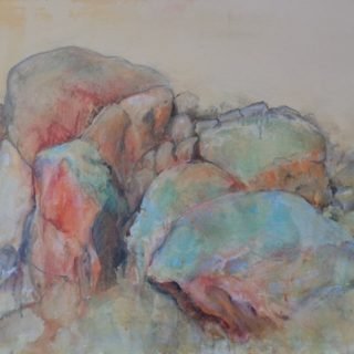 Bald Rock, acrylic and pastel on canvas, 60 x 76cm
