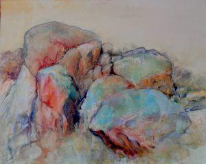 Bald rock, mixed media on canvas, 60 x 76cm