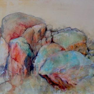 Bald rock, mixed media on canvas, 60 x 76cm