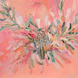 Banksia Beauty, oil and oil stick on linen, 64 x 64cm