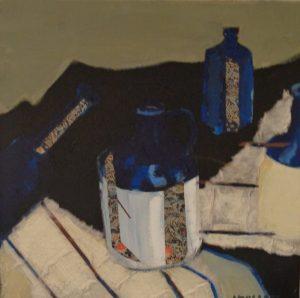 Bottles blue, mixed media on canvas, 30 x 30cm