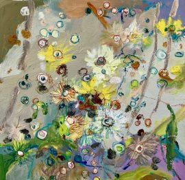 Bush Eucalypt Lemon, oil and oil stick on linen, 35 x35cm