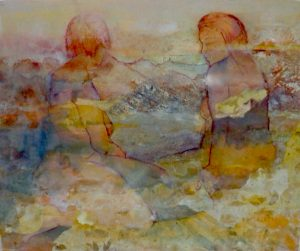 By the river, mixed media on paper, 61 x 78cm (incl frame)