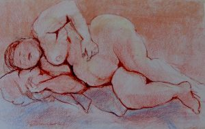 Cuddles, pastel on paper, 74 x 57(incl frame)