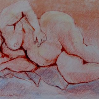 Cuddles, pastel on paper, 57 x 74cm (incl frame)