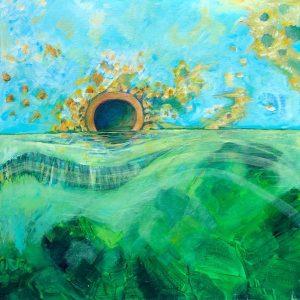 Edges the pump, acrylic on canvas, 61 x 61cm copy