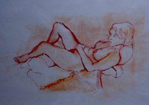 Life class, pastel on paper, 74 x 57cm (incl mount)