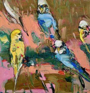 Little budgerigars, oil on linen, 35 x 35cm