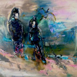 Red Tailed Black Cockatoos, oil and oil stick on linen, 124 x 124cm