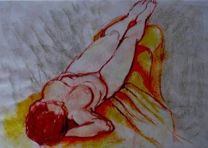 Relaxing, pastel on paper, 74 x 57cm (incl mount)