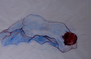 Repose, pastel on paper, 74 x 57cm (incl mount)