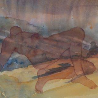 Drifting 1, watercolour on paper, 59 x 71cm (incl frame)