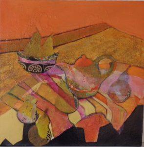 Six pears, mixed media on canvas, 46 x 46cm