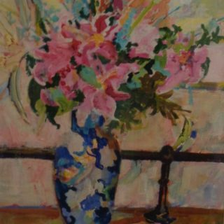 Spring Bouquet, acrylic on paper, 97 x 76cm (incl frame)