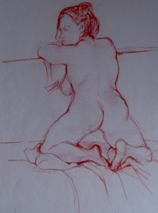 The pose, pastel on paper, 74 x 57cm (incl mount)