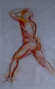 The stance, pastel on paper, 74 x 57cm (incl mount)