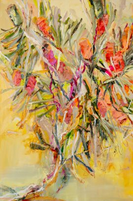 Wild banksia yellow, oil and oil stick on linen, 154 x 104cm