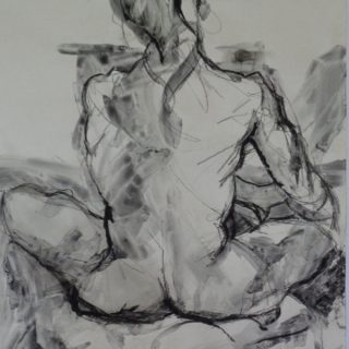 Youth, charcoal on paper, 84 x 65 cm (incl mount)