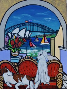 A dog's life, mixed media on canvas, 120 x 90cm