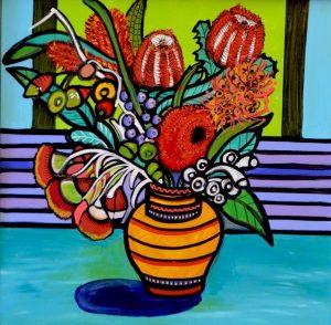 Aussie bouquet, acrylic on canvas, 61cm x 61cm