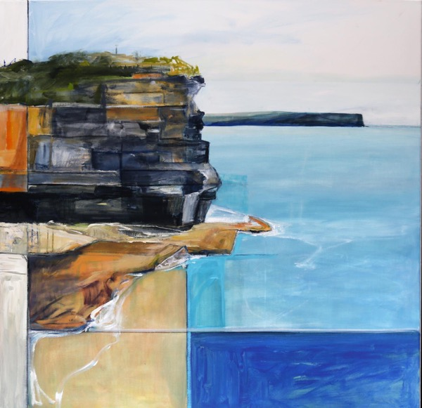 Beyond the Gap to North Head, acrylic on poly cotton, 102 x 102cm