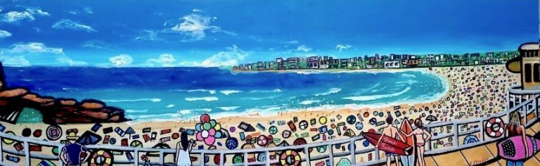 Bondi Beach Panorama, mixed media on canvas, 50 x 120cm