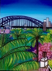 High above a hill at lavender bay, acrylic on canvas, 40 x 30cm