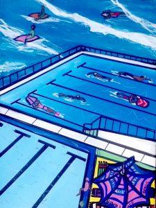 Lap swimming at the bondi icebergs, acrylic on canvas, 40 x 30cm