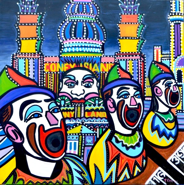 Laughing clowns, mixed media on canvas 90 x 90cm