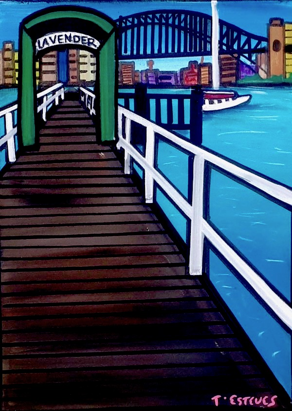 Lavendar Bay Wharf, acrylic on canvas 40 x 30cm