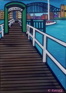 Lavendar bay wharf, acrylic on canvas 30cm x 40cm