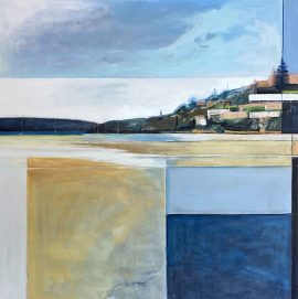 Looking North at Rose Bay, acrylic on poly cotton, 110 x 110cm