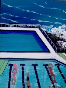 Oh what a sensational swim, acrylic on canvas, 40 x 30cm