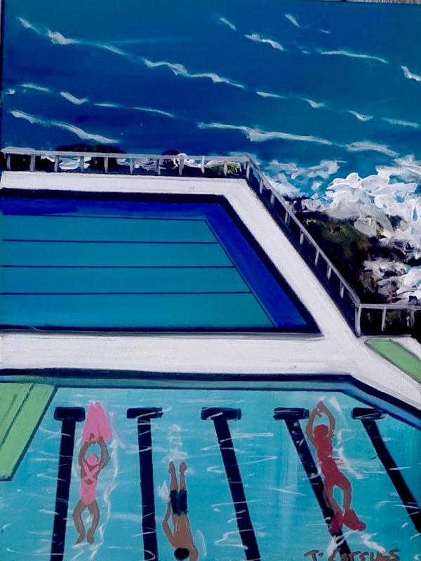 Oh What a Sensational Swim, acrylic on canvas, 40 x 30cm