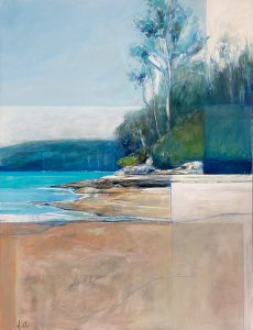 On the harbours edge, oil on polycotton 110 x 90cm