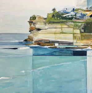 Shining down on bronte beach ii, acrylic on canvas, 92 x 92cm