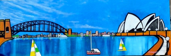 Stillness in the Harbour, mixed media on canvas, 50 x 120 cm