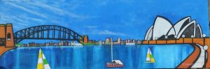 Stillness in the harbour, mixed media on canvas, 150 x 50 cm