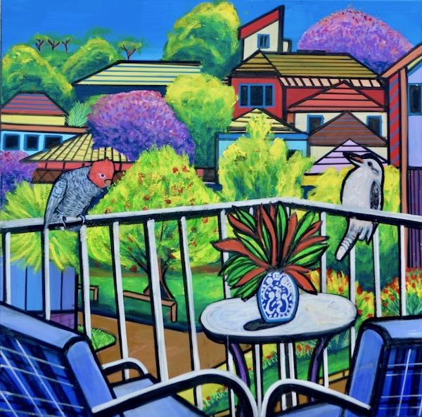 Suburban Balcony View, mixed media on canvas, 90 x 90cm