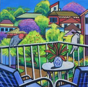 Suburban balcony view, mixed media on canvas, 90 x 90cm