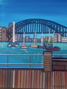 The edge of the pier, acrylic on canvas, 30 x 40cm