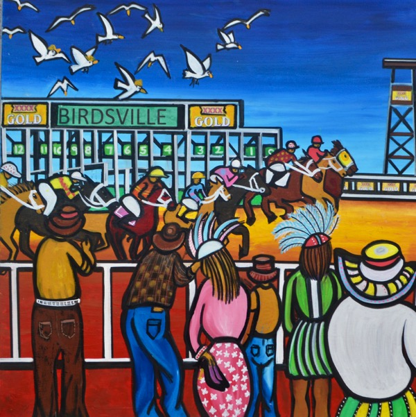 The Glamour of the Birdsville Races, mixed media on canvas, 90 x 90cm