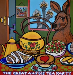 The great aussie tea party, mixed media on canvas, 100 x 100cm