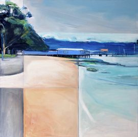 The Other Day at Watsons Bay, oil on poly cotton 93 x 93cm (incl frame)