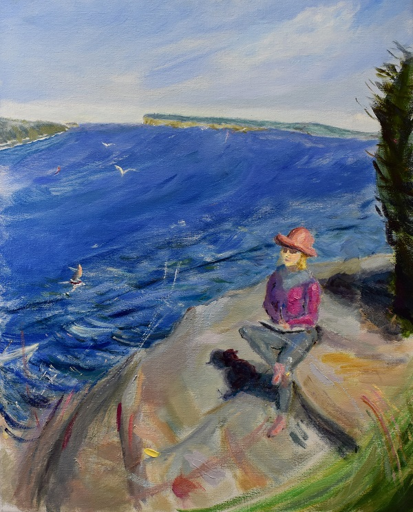 Sketching with shadows, manly, oil on linen, 79 x 64cm (incl frame)