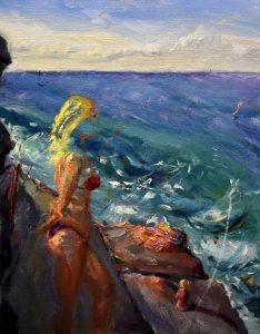 Surfer on the rocks, oil on linen, 50 x 39cm