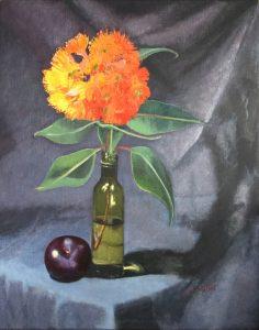 Orange eucalypt flowers, oil on linen, 51 x 41cm