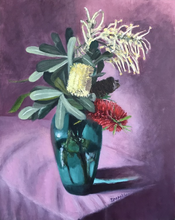 Banksia, callistemon & grevillea, oil on canvas, 51 x 41cm